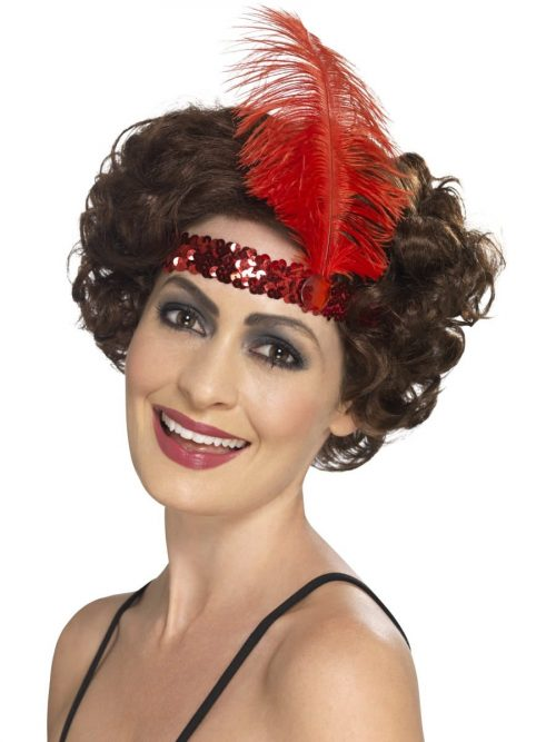 Red Sequinned Flapper Headband with Feather