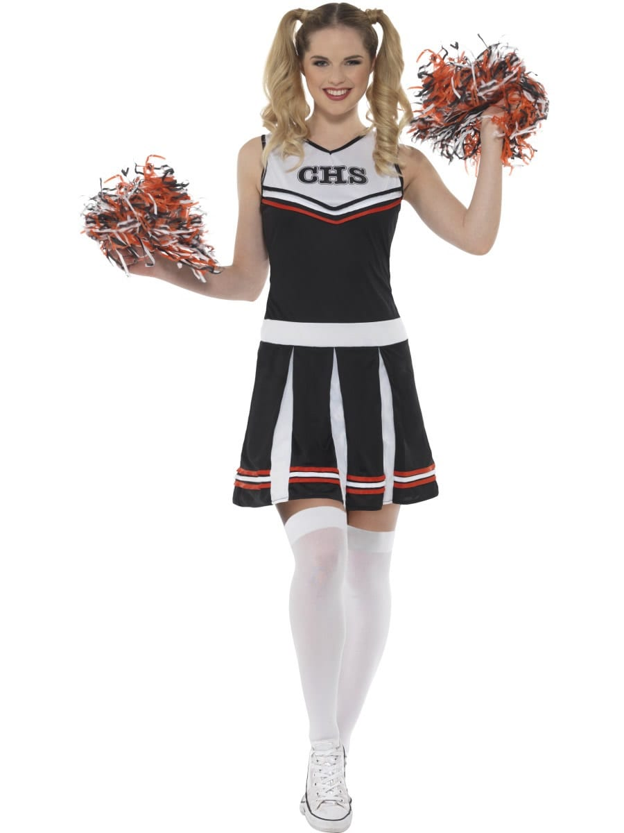 Cheerleader Black Ladies Fancy Dress Costume