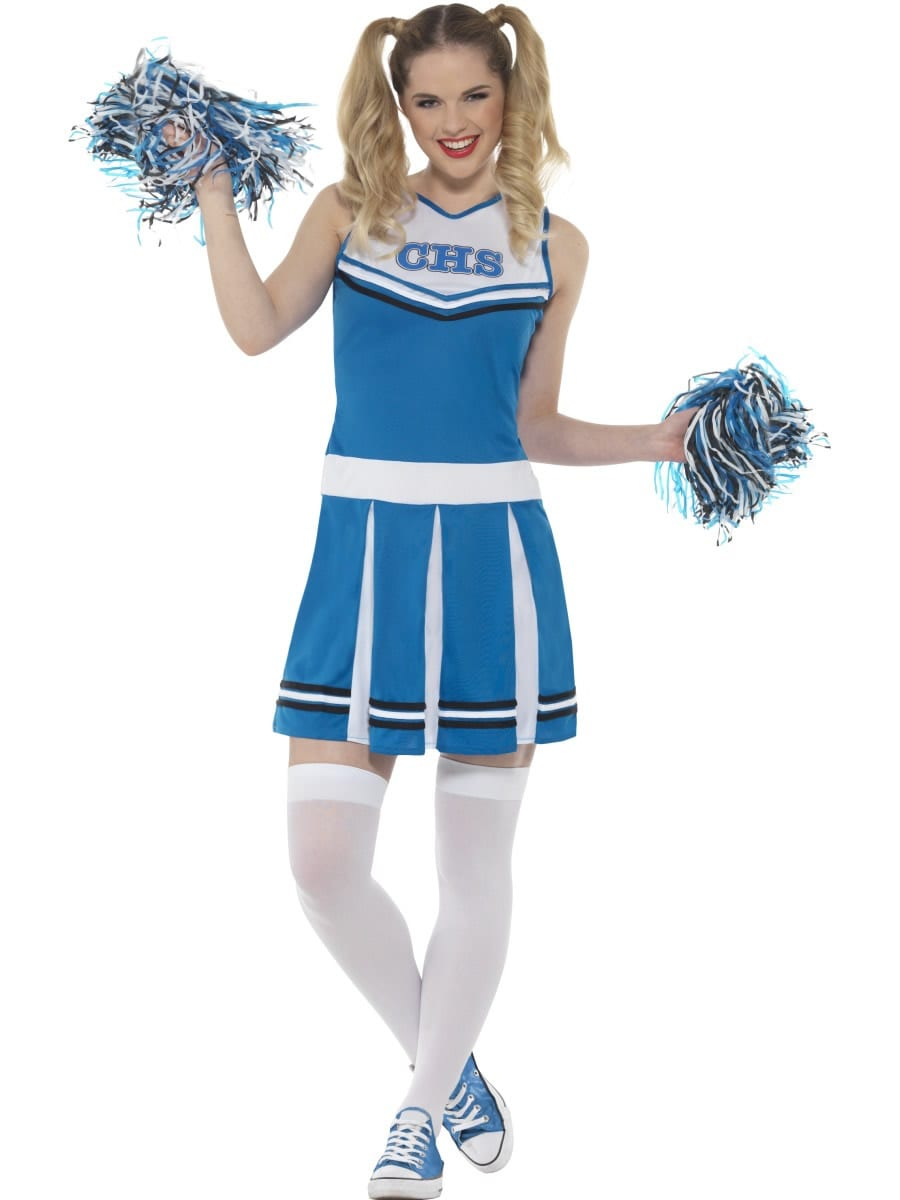 Cheerleader Blue Ladies Fancy Dress Costume