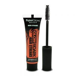 Glow in the Dark Hair Streaks Orange with Applicator Brush 15ml