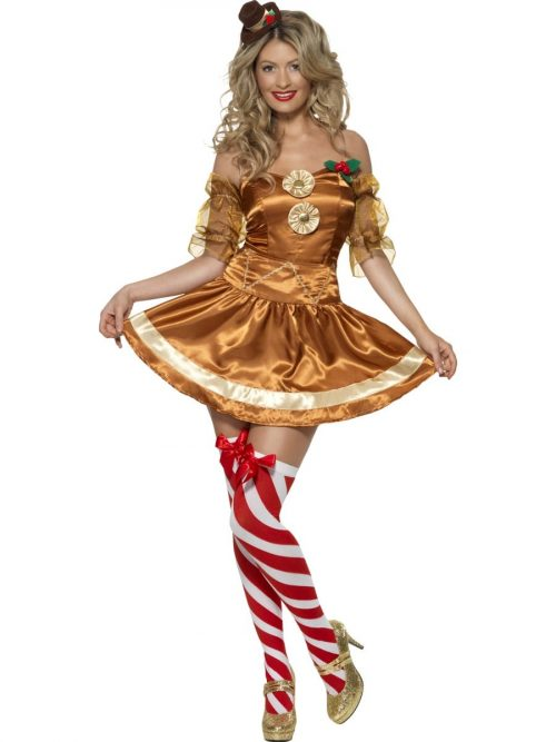 Fever Collection Gingerbread Treats Ladies Fancy Dress Costume