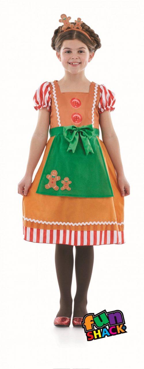 Little Miss Gingerbread Children's Christmas Fancy Dress Costume