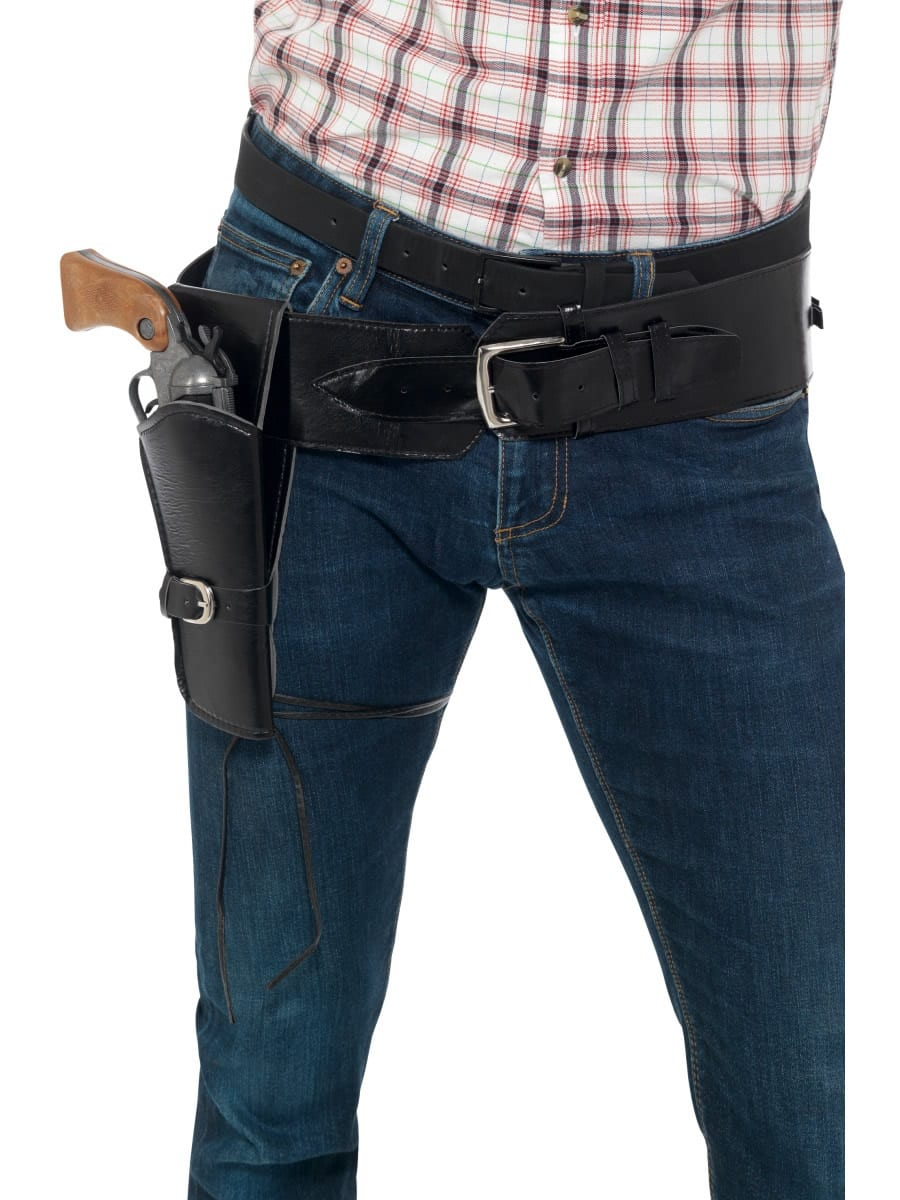 Adult Faux Leather Single Holster with Belt Black