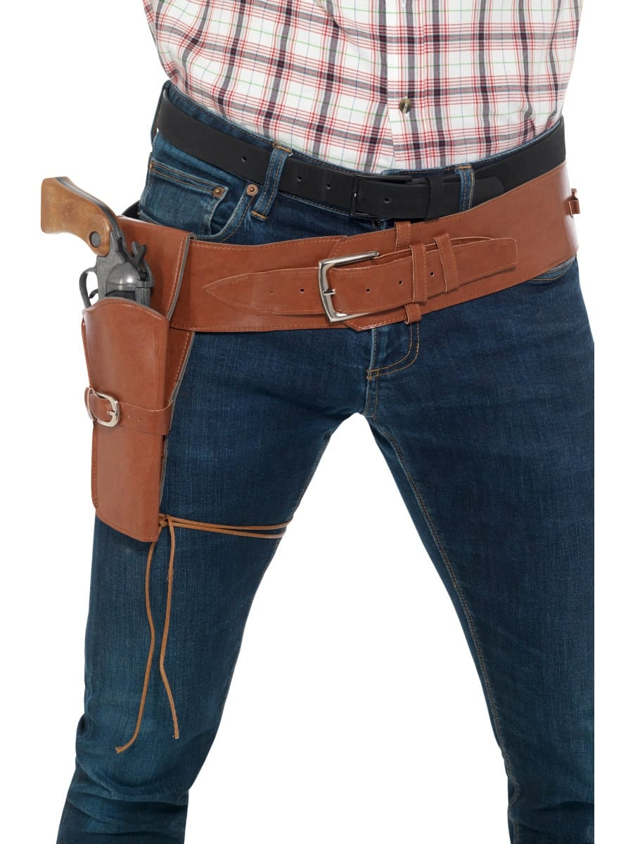 Adult Faux Leather Single Holster with Belt Tan