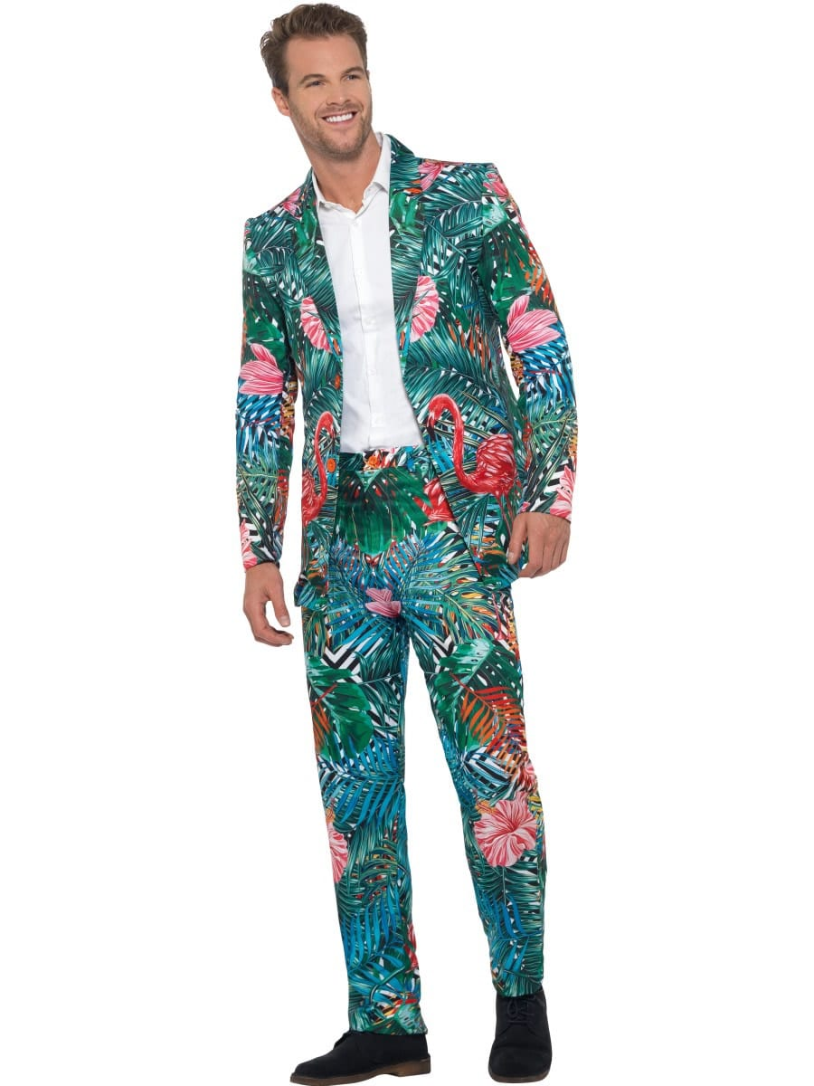 Hawaiian Tropical Flamingo Suit Men's Fancy Dress Costume