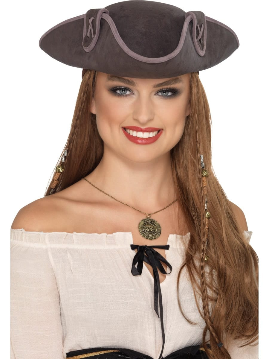 Tricorn Pirate Captain Hat Grey