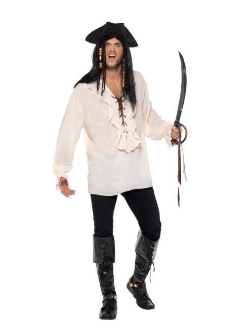 Pirate Shirt Ivory Men's Fancy Dress Costume