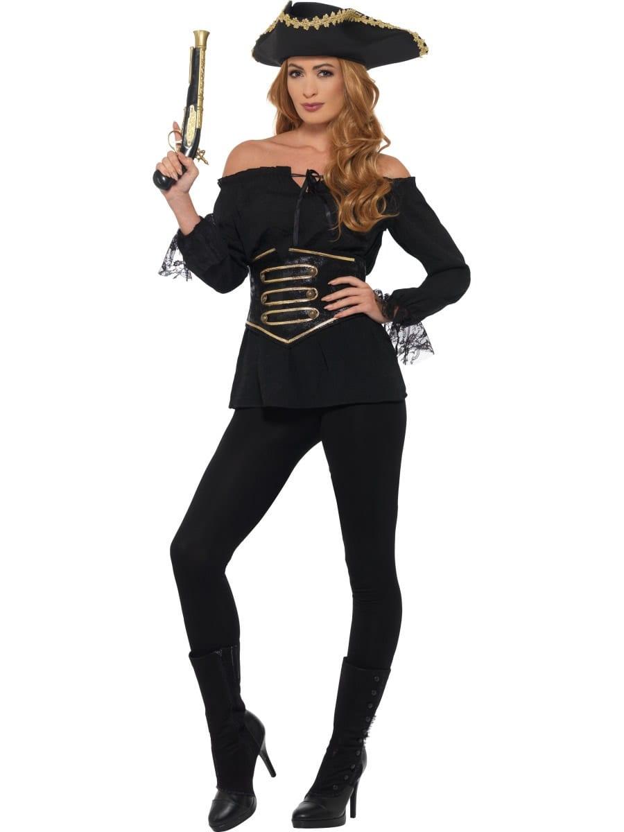 Deluxe Ladies Pirate Shirt Black Ladies Fancy Dress Costume