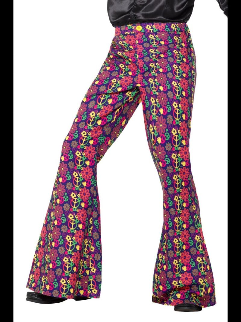 1960s Psychedelic CND Flared Trousers Men's Fancy Dress Costume