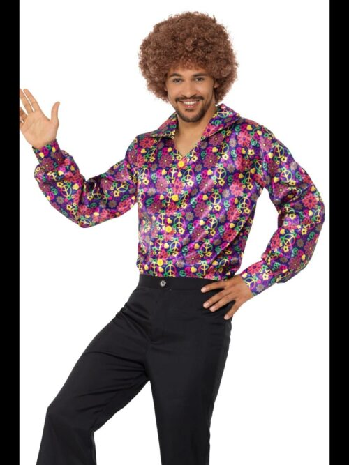 1960s Psychedelic CND Flared Shirt Men's Fancy Dress Costume