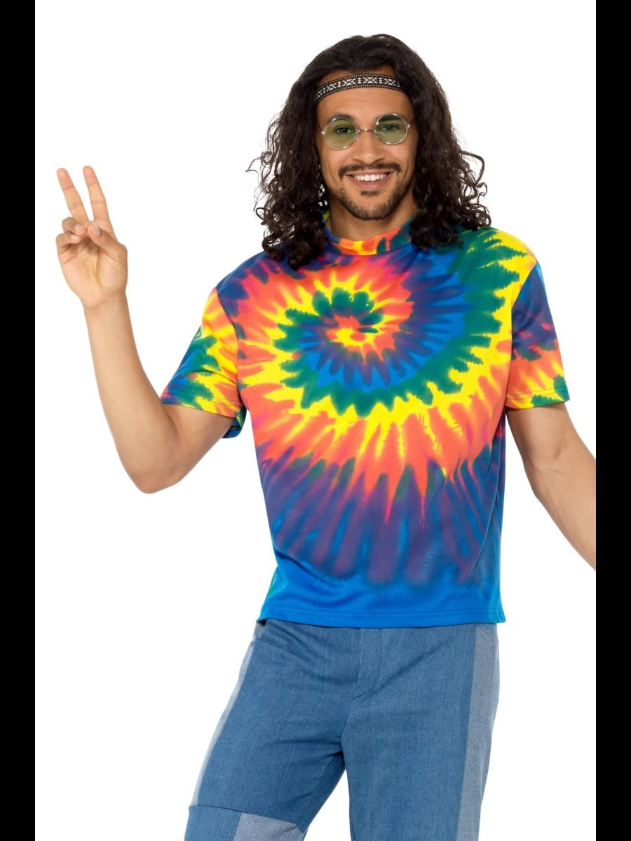 1960s Tie Dye T-Shirt Men's Fancy Dress Costume