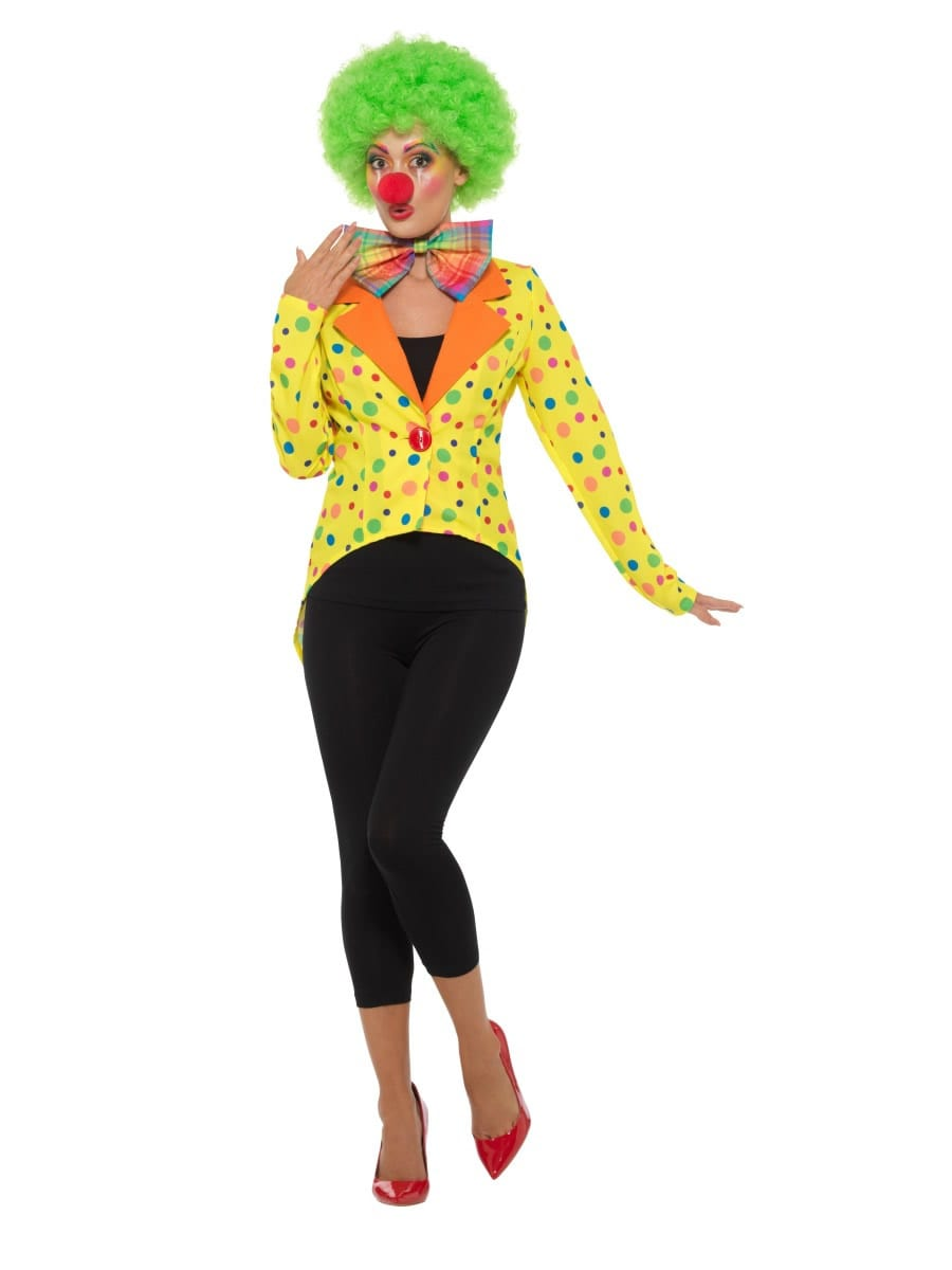 Colourful Clown Tailcoat Jacket Ladies Fancy Dress Costume