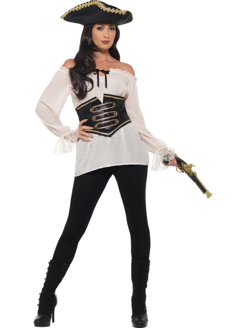 Deluxe Ladies Pirate Shirt Ivory Ladies Fancy Dress Costume