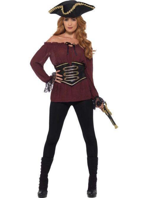 Deluxe Ladies Pirate Shirt Burgundy Ladies Fancy Dress Costume