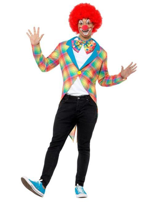 Checked Clown Tailcoat Men's Fancy Dress Costume
