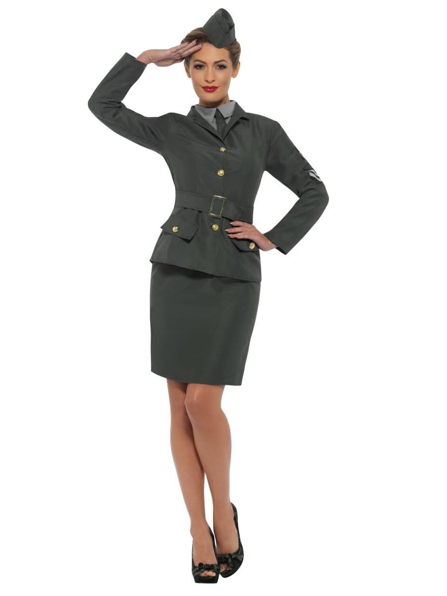 WW2 Army Girl Ladies Fancy Dress Costume
