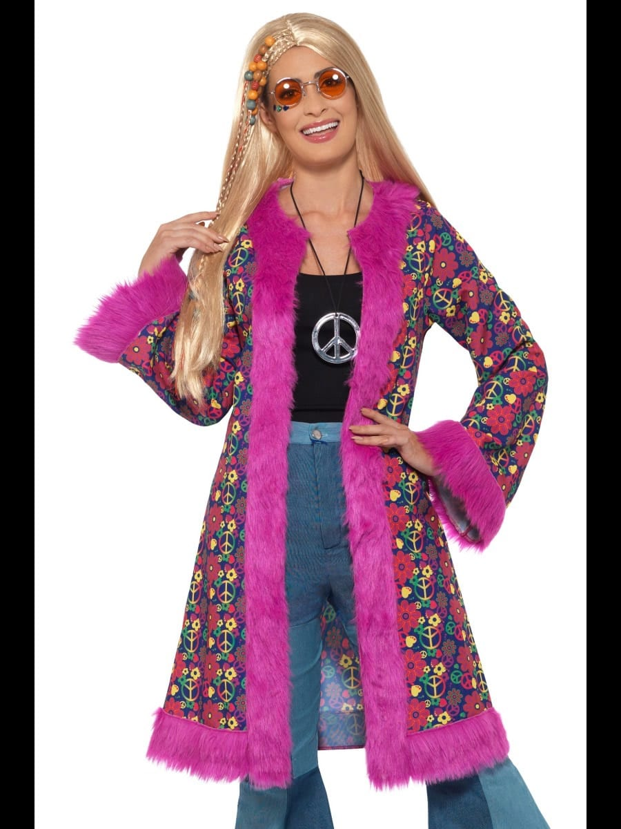 60s Psychedelic Hippie Coat Ladies Fancy Dress Costume