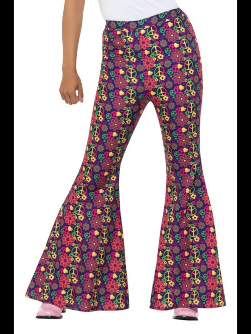 1960s Psychedelic CND Flared Trousers Ladies Fancy Dress Costume