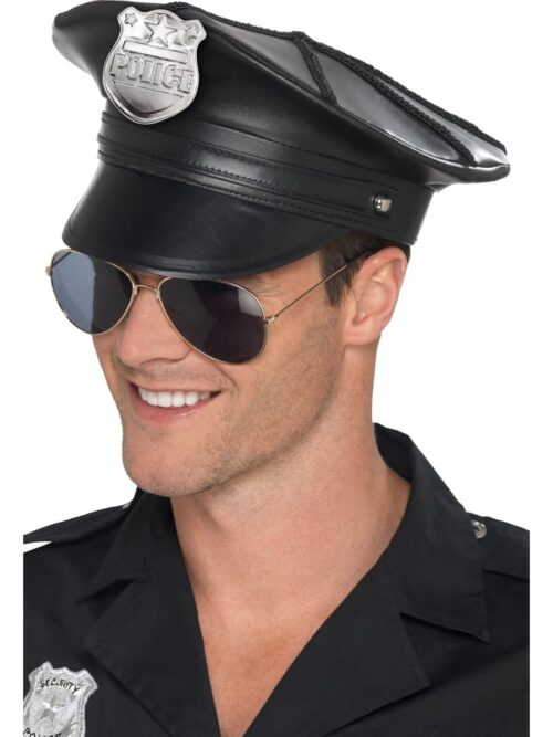 Deluxe Police Hat, Black, Faux Leather