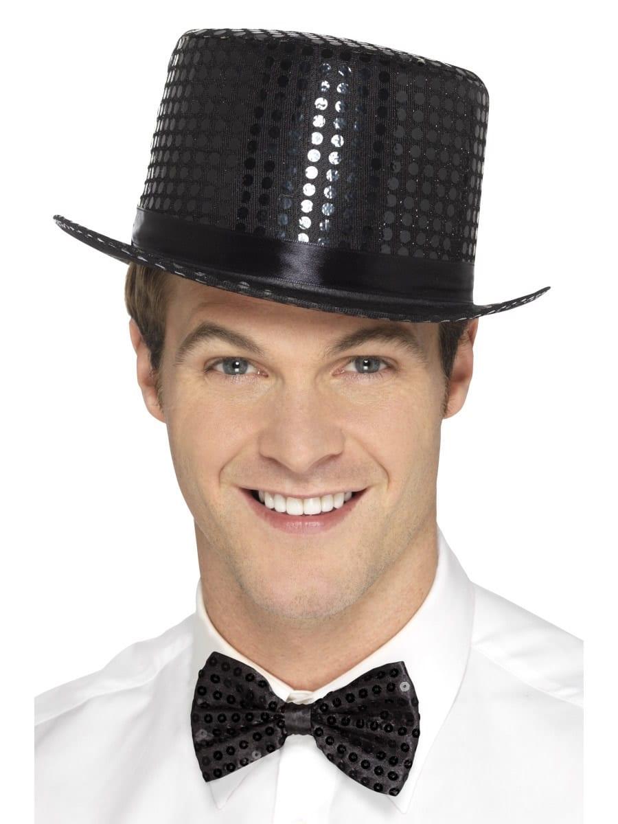 Sequin Top Hat Black