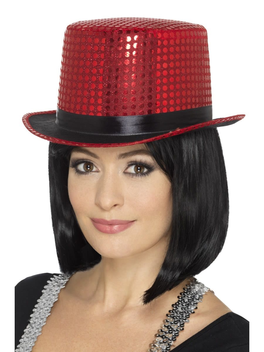 Sequin Top Hat Red