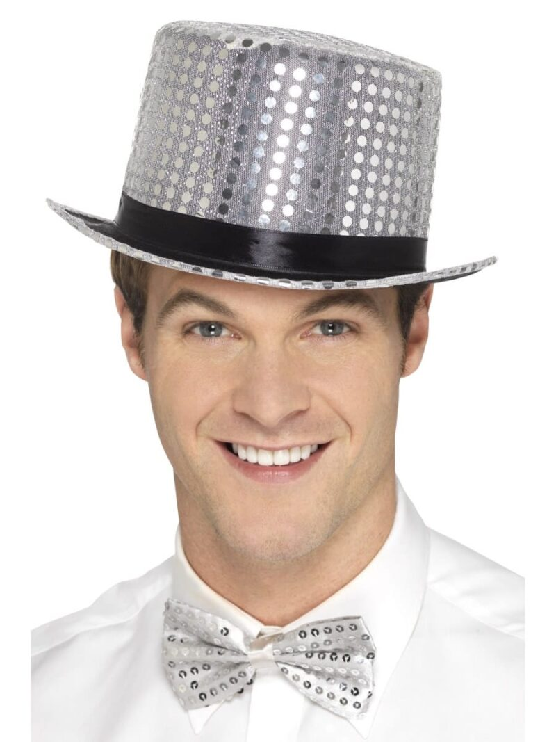 Sequin Top Hat Silver