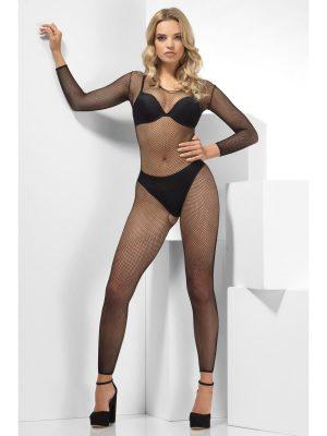 Black Fishnet Footless Jumpsuit