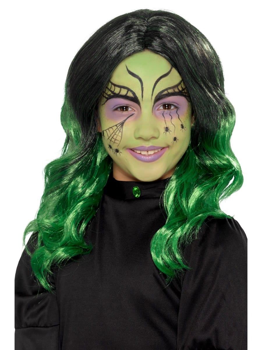 Kids Witch Wig Black/Green