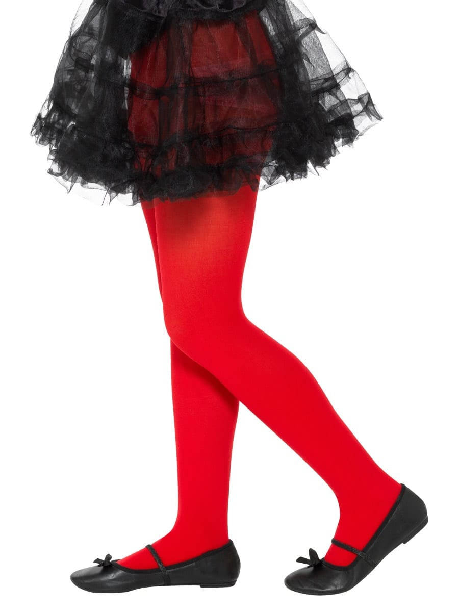 Opaque Tights Red Age 6-12 Years