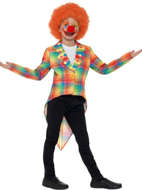 Neon Tartan Clown Tailcoat Children's Fancy Dress Costume