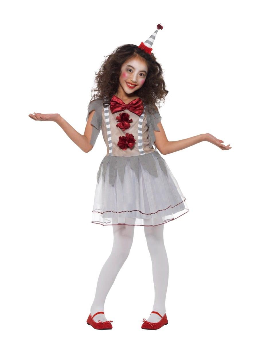 Vintage Clown Girl Children's Halloween Fancy Dress Costume