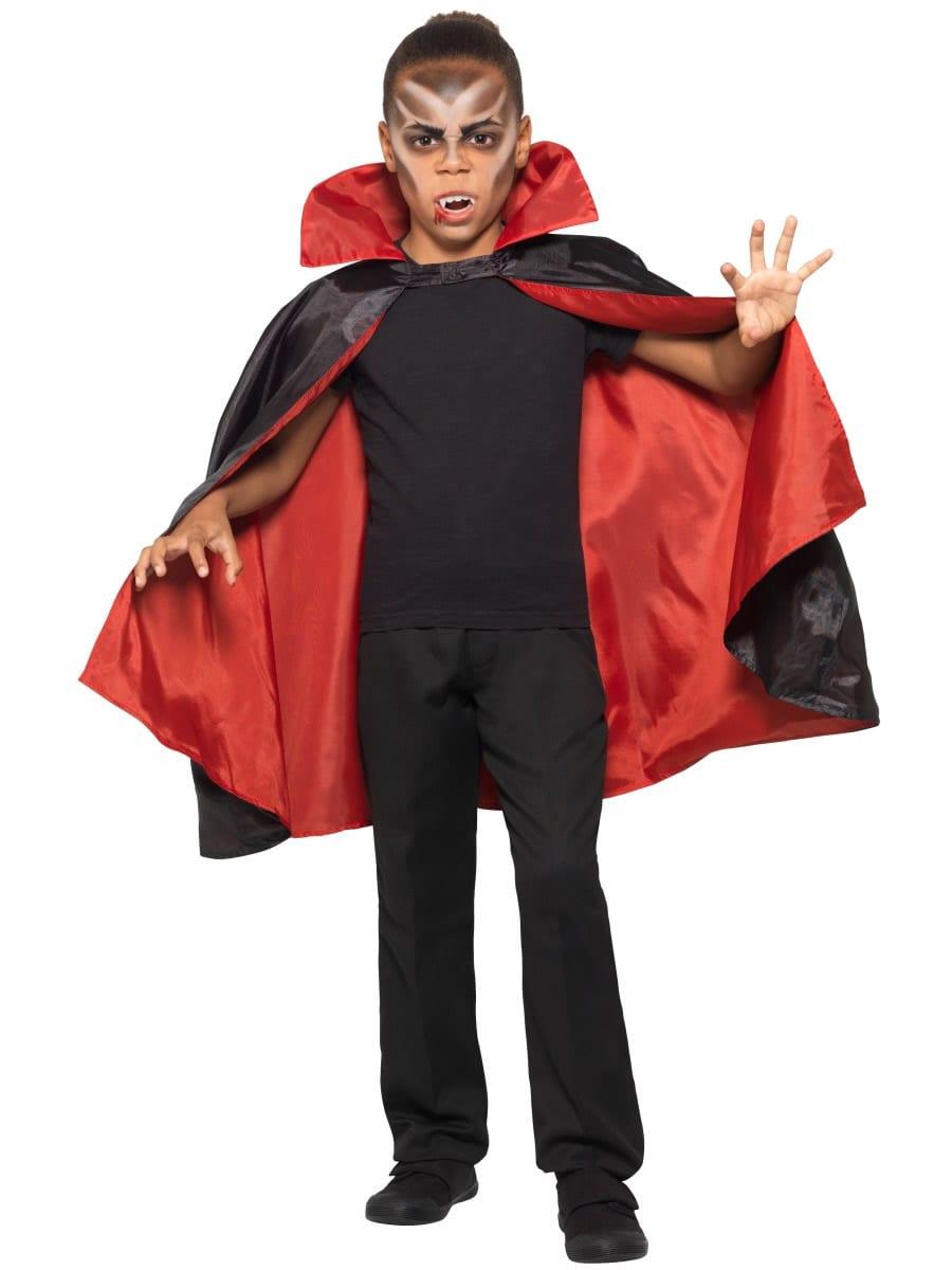 Reversible Children's Vampire Cape Black/Red