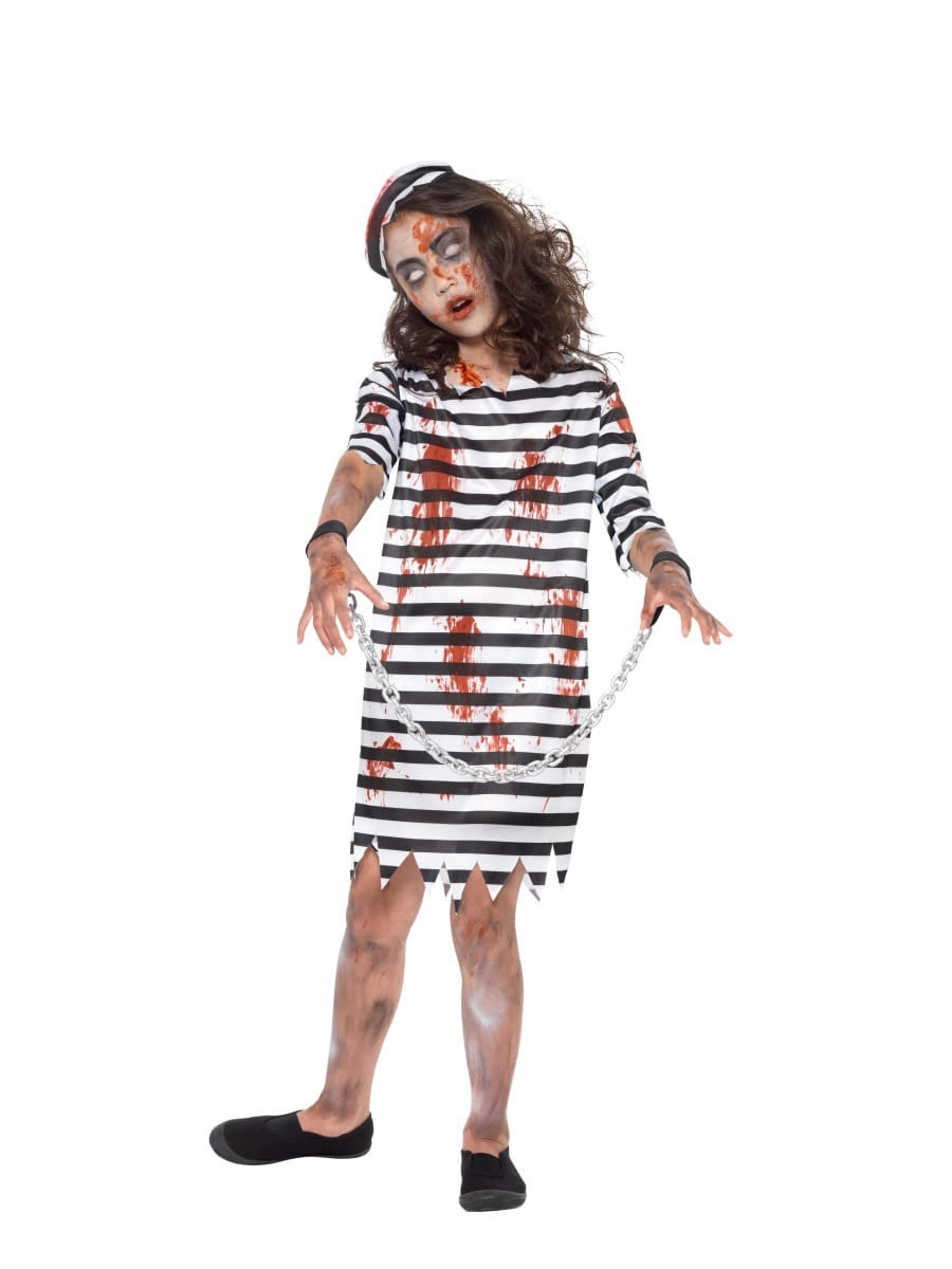 Zombie Convict Girl Children's Halloween Fancy Dress Costume