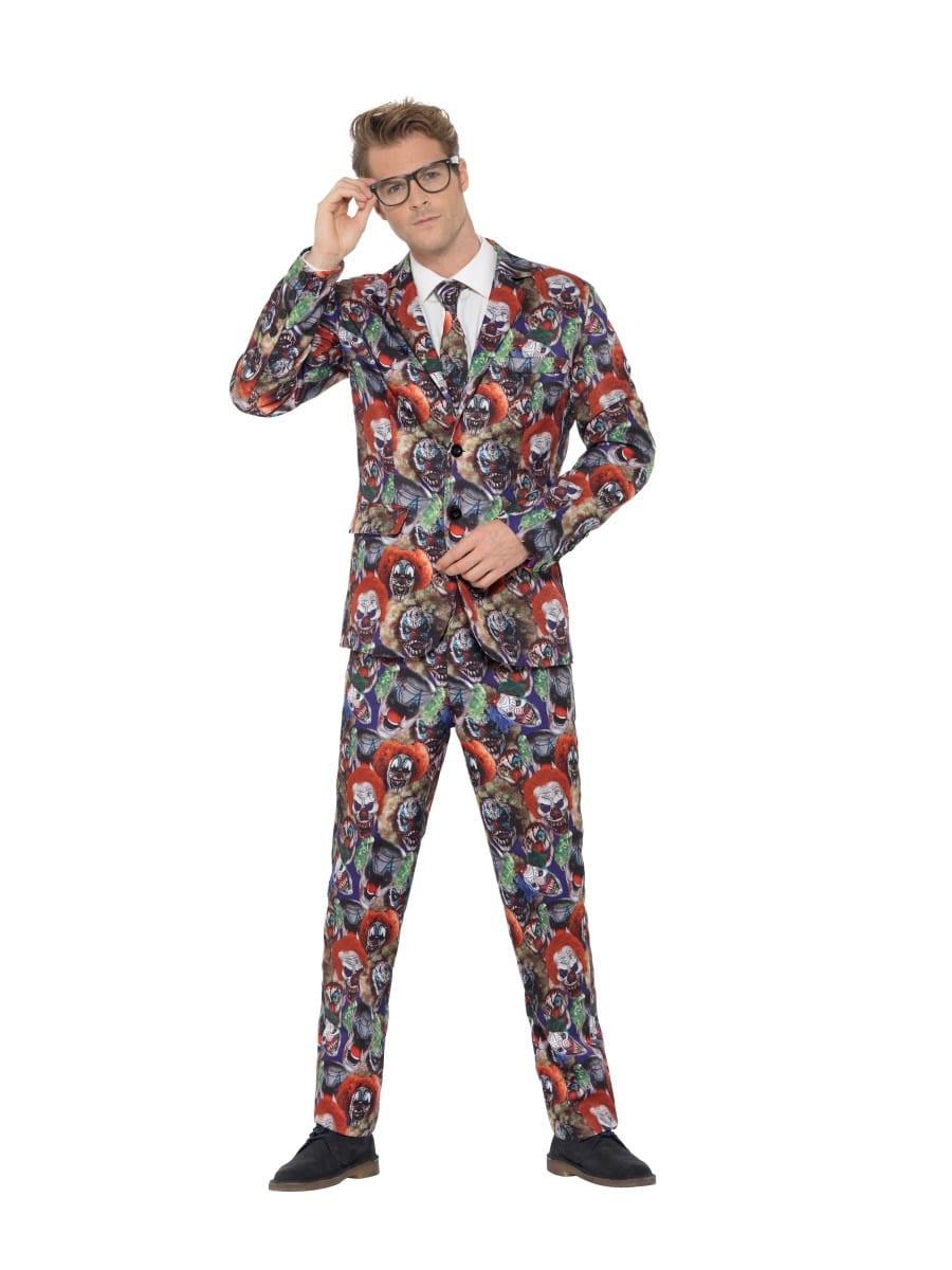 Evil Clown Standout Suit Men's Halloween Fancy Dress Costume