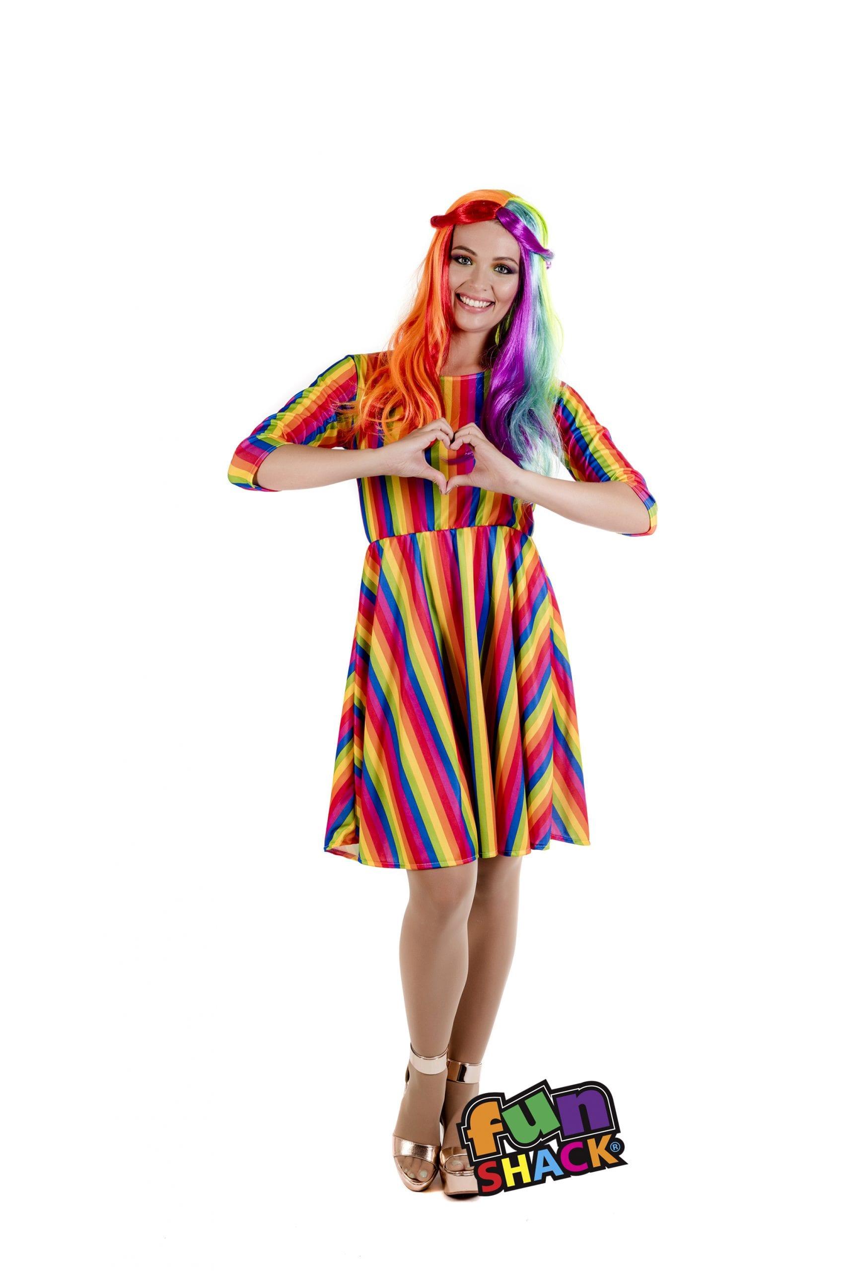 Rainbow Dress Ladies Fancy Dress Costume