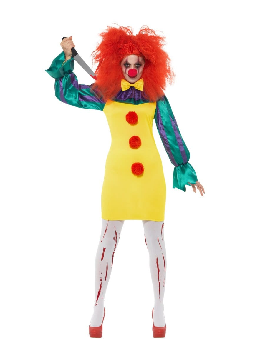 Classic Horror Clown Lady Halloween Ladies Fancy Dress Costume