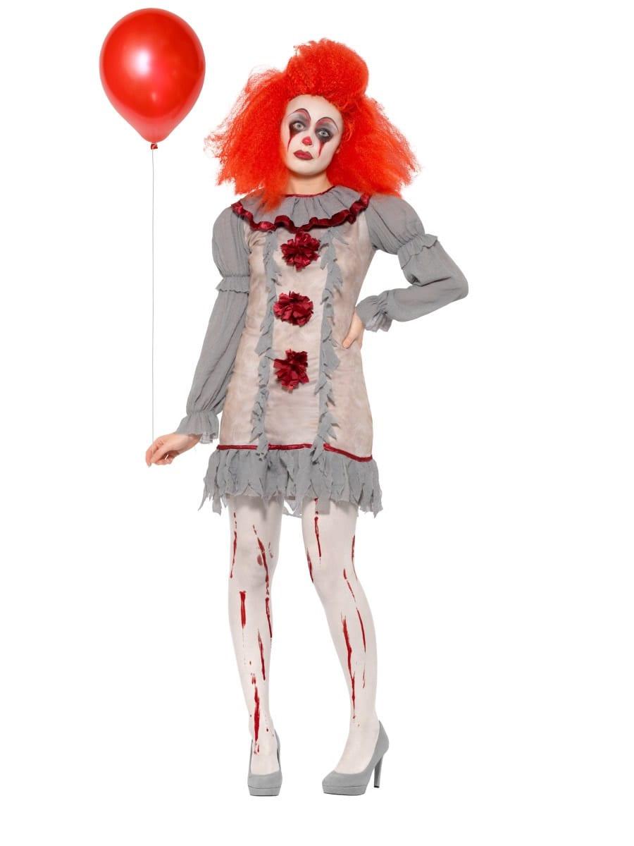 Vintage Clown Halloween Ladies Fancy Dress Costume