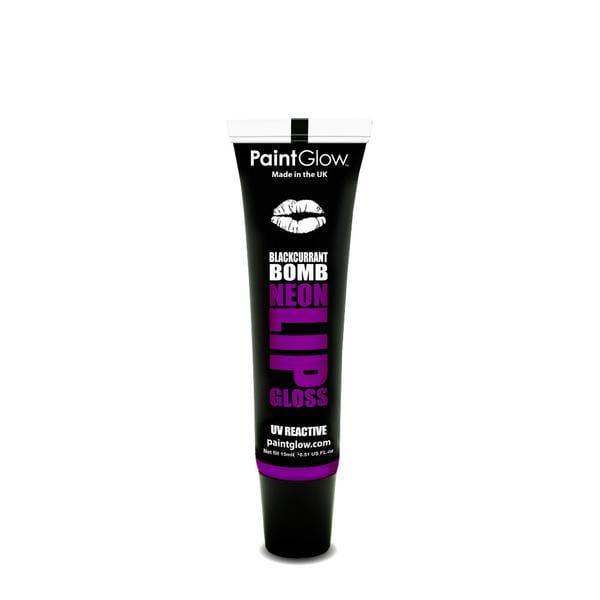 PaintGlow UV Reactive Neon Lip Gloss 15ml Blackcurrant Bomb