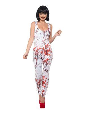 Fever Collection Blood Splatter Bodysuit Ladies Halloween Fancy Costume