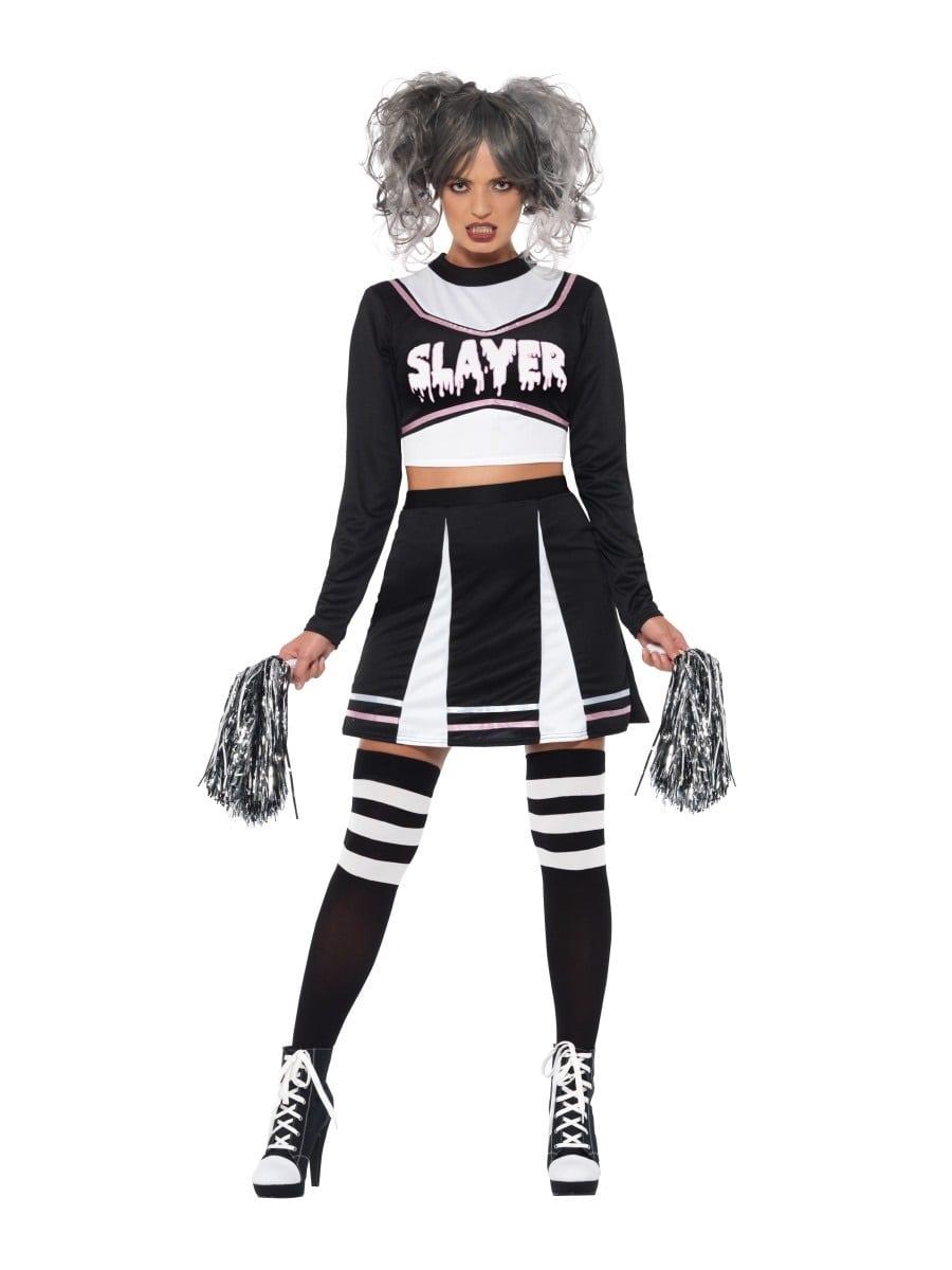 Fever Gothic Cheerleader Ladies Halloween Fancy Dress Costume