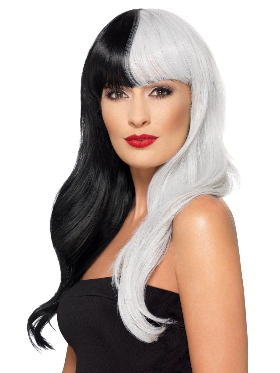 Deluxe Half & Half (Cruella) Wig With Fringe