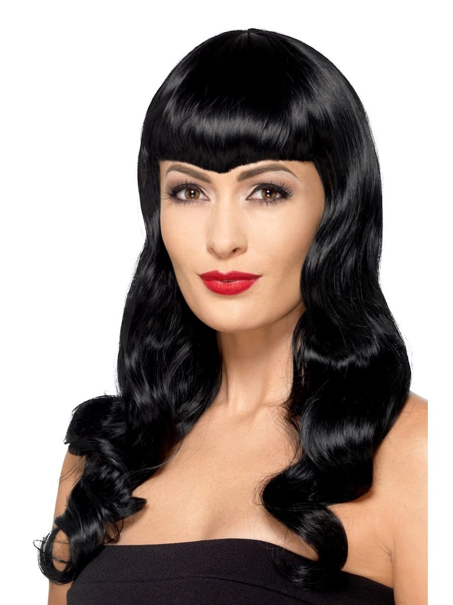 Deluxe Black Wavy Wig With Shaped Fringe