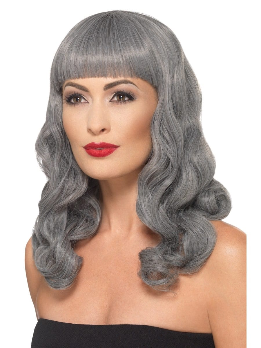 Deluxe Grey Wig Wavy With Fringe
