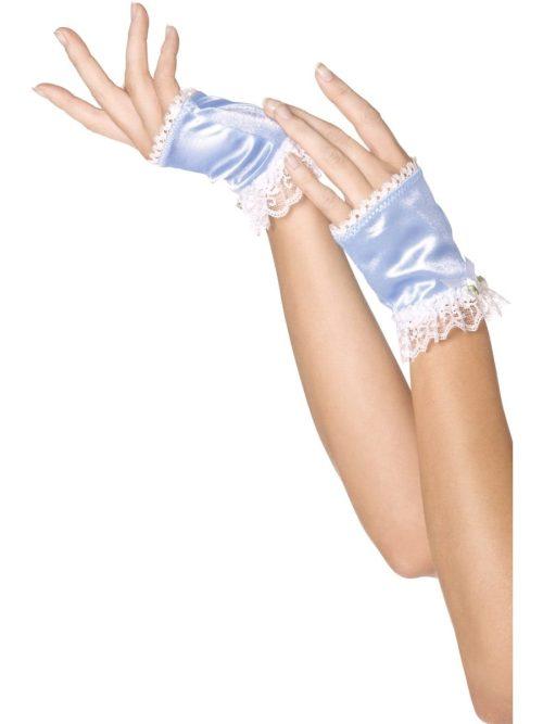 Bijou Boutique Blue Glovettes with Lace Trim