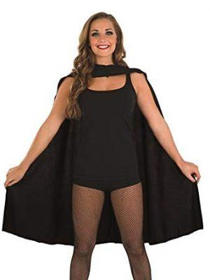 Black Unisex Superhero Cape Fancy Dress Costume-0