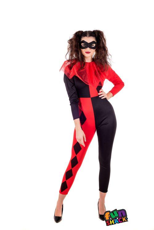Harlequin Ladies Halloween Fancy Dress Costume