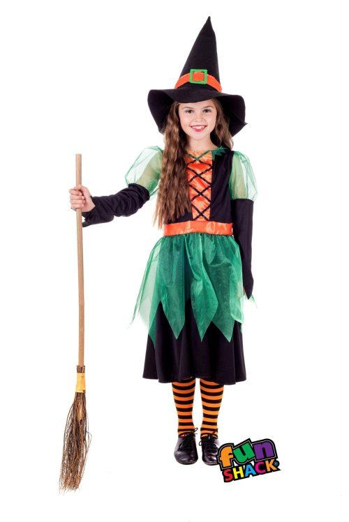 Green Witch Children's Halloween Fancy Dress Costume