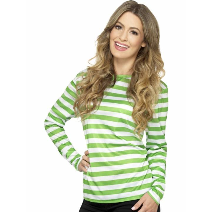 Green Striped Top Ladies Fancy Dress Costume