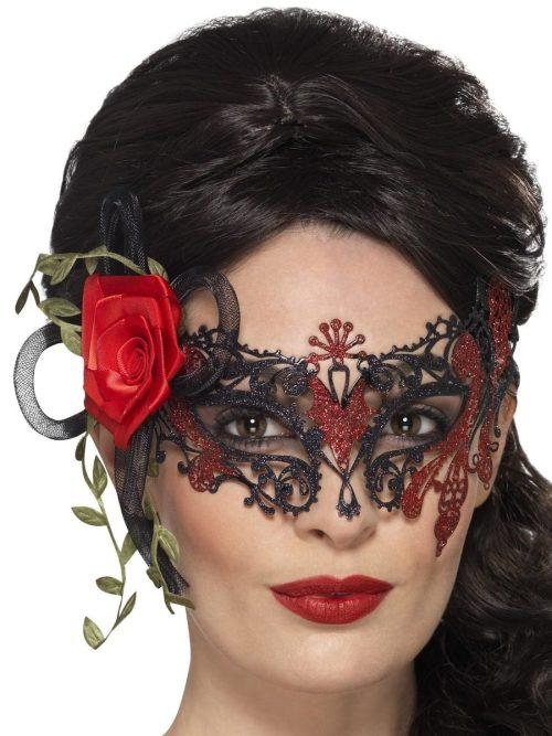 Day of the Dead Metal Filigree Eyemask with Rose