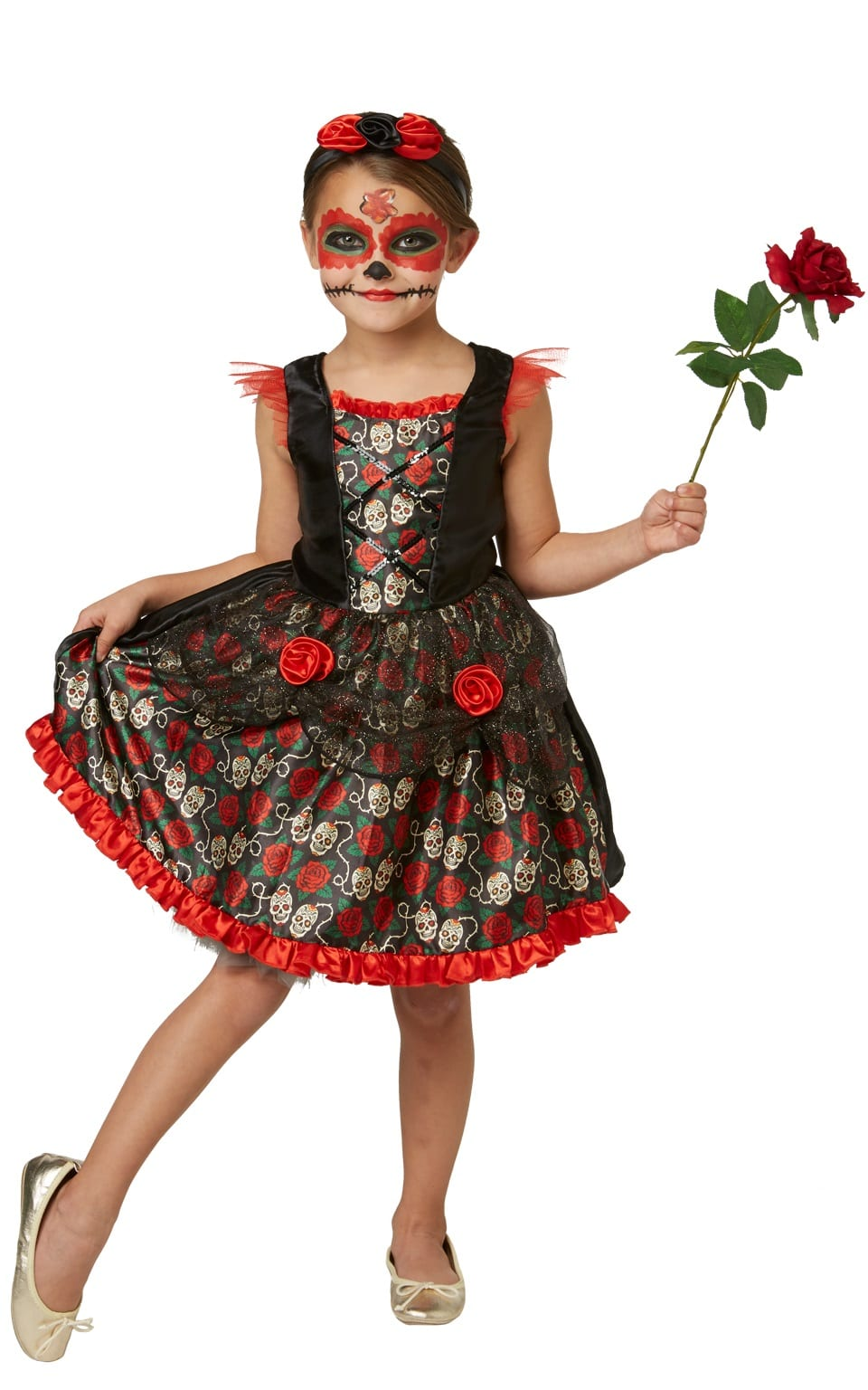 Red Rose Day of the Dead Children's Halloween Fancy Dress Costume